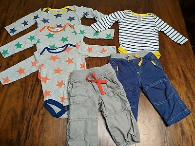 Lot of 6 Baby Boys Clothes Baby Mini Boden 3-6 Months 3 Stars One Piece Pants
