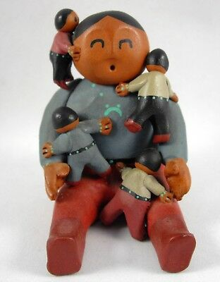 Clay Native American Storyteller Male with 4 Children Figurine Sculpture Signed