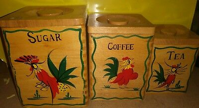 Vintage Rooster Canister Set Wooden Wood Flour Sugar Coffee Tea Dovetail japan