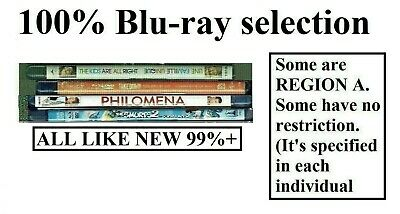 100% Blu-Ray Selection (Sold Separately) Mostly Region A, but some Region-free