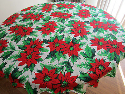 Vintage Round Christmas Holiday Poinsettia Tablecloth 57 Inch Diameter.