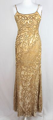 Vintage 80s CACHE Beaded Evening DRESS Beige/Gold   UK 10    459 Y