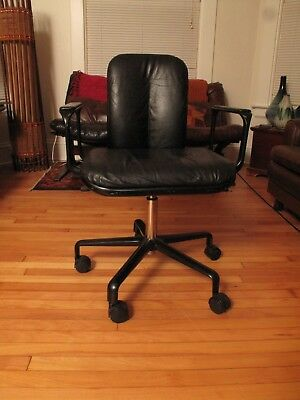 Vtg Mid Century Modern Italian Black Leather Icf Office Chair Frederick Scott