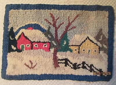 Vintage Hand Hooked Colorful Mat Houses Fence Winter Scene Grenfell type