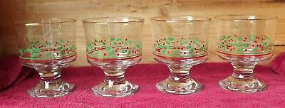 "Vintage 4 Arbys Libbey Christmas Holiday Holly Berry 4"" Dessert Sherbet Glasses"