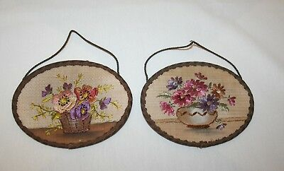 Antique Hand Embroidered Floral Oval Pictures - Wall Hangings (Germany - Rare)
