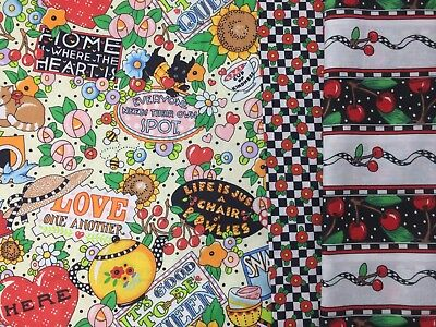 VTG LOT 1.75 YD MARY ENGELBREIT 1994 MOTTO Oh No, Cherry Stripe Fabric Quilt OOP