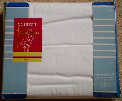 2 VTG CANNON COMBSPUN 100% COTTON PERCALE WHITE FULL or QUEEN FLAT SHEETS NIP