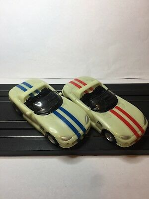 Lot Of 2 Tyco Dodge Viper NITEGLOW  Slot Cars, Tested And In Working  Condition