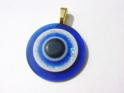 Italian Golden Royal Blue Evil Eye Ancient Roman Greek Men  Women Charm  Pendant