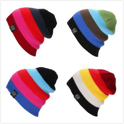 Multi-color Womens Ladies Girls Woven Wool Hat Autumn Winter Warm Knitted Cap