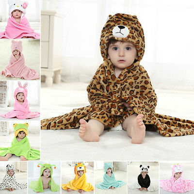 Newborn Winter Fall Flannel Warm Bath Towel Blanket Baby Cute Animal Style Cloak