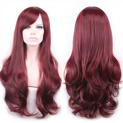 25'' Women Wine Red Wavy Curly Long Hair Full Wigs Cosplay Party Wig with Bangs