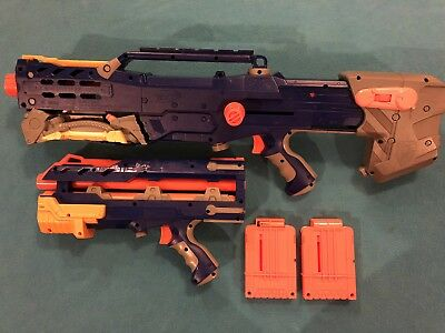 Nerf Gun Longshot CS-6 Elite LOT N-Strike Dart Rifle BlueVersion Good Condition!