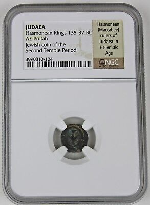 Authentic Ancient Jewish Hasmonean Coin, NGC Certified, Second Temple