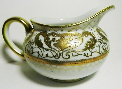 Nippon Hand Painted  Beaded Gold Encrusted Moriage Creamer-Antique