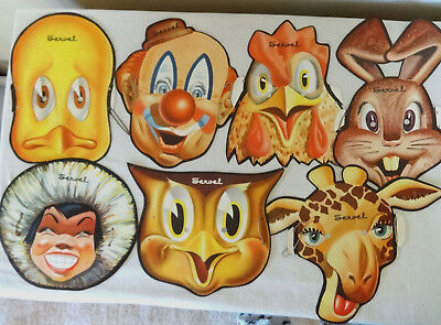 7 Servel Circus Animal Masks, Original ca. 1940s, Refrigerator Advertising Rare