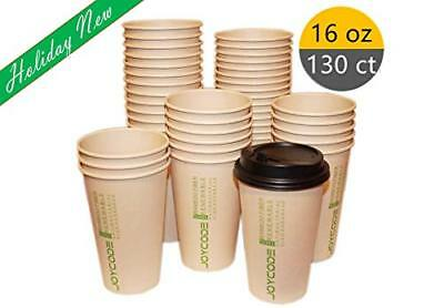 16OZ Disposables Hot  Paper Coffee 100% Bamboo Fiber Cups-With lids 130 Counts
