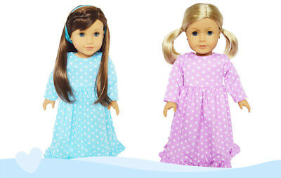 2 Pack Nightgowns Doll Outfits Fits 18 Inch American Girl Doll Clothes