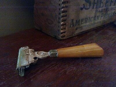 Vintage Schick Injector Single Blade Safety Razor Butterscotch Bakelite Handle