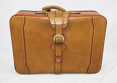"""MARK CROSS Butterscotch Brown Leather Red Trim Suitcase 21.5"""" x 17"""" x 8""""  $2900"""