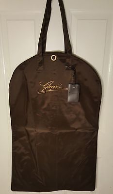 NEW Gucci Brown/Gold Waterproof Garment Bag w/Leather+Brass Zipper & Travel Tag