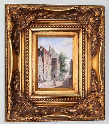 J. Morris, 19th Century Antique Oil on Canvas Painting in Wood Gilt Frame