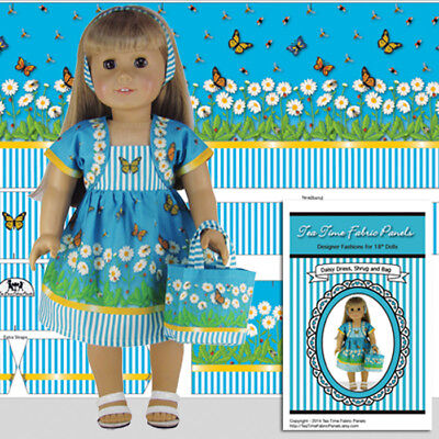 """18 inch Doll Clothes Kit to Sew Daisy Dress Shrug Jacket Tote Bag 18"""" Doll Panel"""