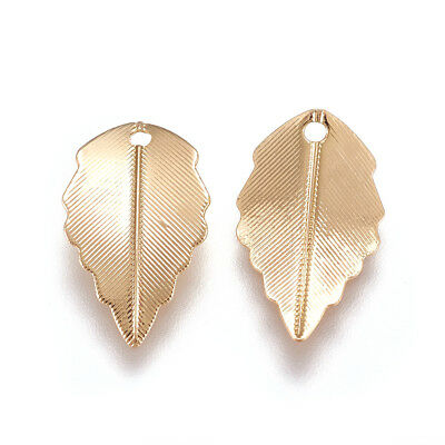 20pcs Gold Plated Brass Textured Leaf Charms Bumpy Dangle Pendant Findings 17mm
