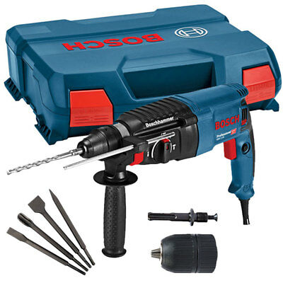 Bosch GBH 2-26 240V SDS Plus Rotary Hammer Drill With Chisels & Keyless Chuck