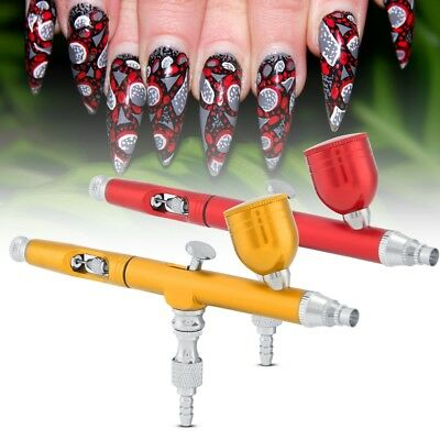 Dual Action Airbrush Gun 0.3mm Nail Art Paint Spray Makeup Gravity Feed Tool