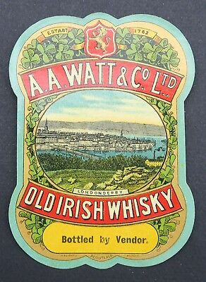Ancienne étiquette OLD IRISH WHISKY WATT & Co LONDONDERRY french label
