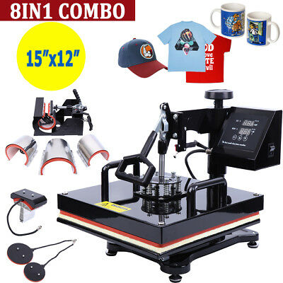 "8 en 1 Heat Press Prensa De Calor 38x29CM T-shirt Taza Gorras Imprenta 15""x12"""