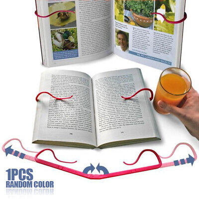 1xHands Free Travel Reading Tool Book Holder Folding Stand Holds Pages Open Clip