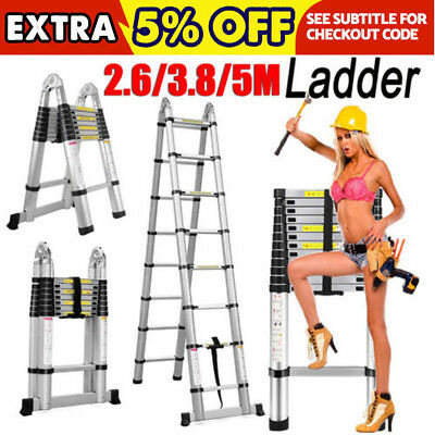 Heavy Duty 5M Durable Multi-Purpose Aluminium Telescopic Ladder Step Extension A