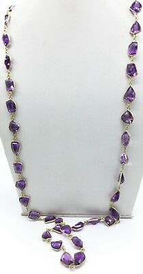 Solid 925 Sterling Silver African Amethyst Semi Precious Chain necklace Jewelry