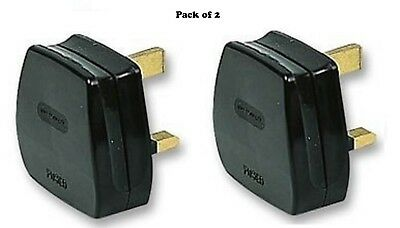 UK MAINS PLUG, BLACK (3A FUSE FITTED)   2 Pack