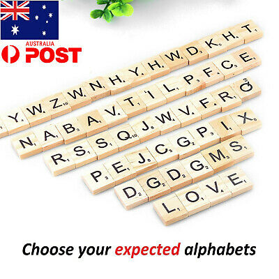 Wooden Alphabet Scrabble Tiles 100-200Pcs  Black Letters Numbers For Crafts Wood