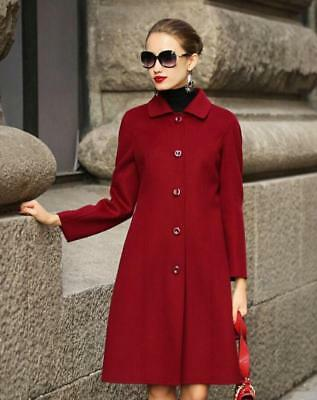 Real Wool Cashmere Long Jacket Coat Double-faced Women Vintage Winter Outwear