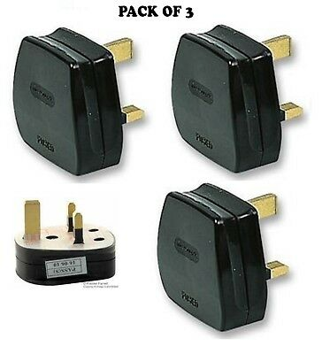 UK MAINS PLUG, BLACK (3A FUSE FITTED)   3 Pack