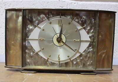 Vintage Mid Century ART DECO METAMEC Mantle Clock Brass Eye Kienzle Time - 221