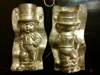 "5""anton Reiche 1927 Best Man Wedding With High Hat Tin Chocolate Mold Antique"