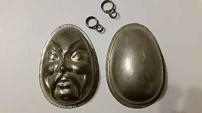 Fu Manchu Face Chocolate Egg 2 Side Tin Pewter Mold Mould Vintage Antique