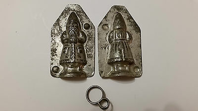 Little Small Santa Claus Tin Pewter Chocolate Mold Mould Antique Vintage