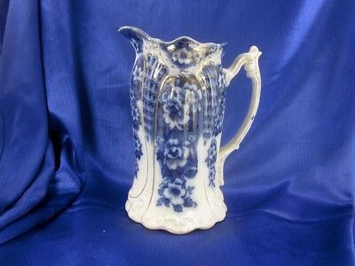 "1912 Lrg Antique Flow Blue 8 ¾"" Art Nouveau Floral Victor Jug Pitcher Rathbone"