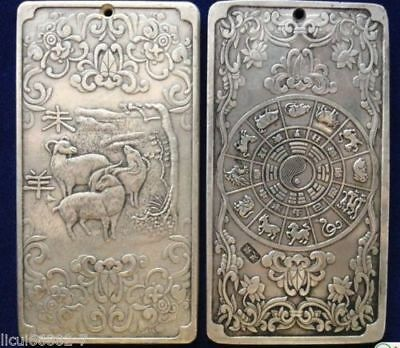 Old Chinese tibet Silver Chinese Zodiac sheep Bullion thanka amulet thangka