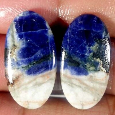 21.80Cts.100%natural Blue Sodalite Oval Pair Cabochon African Top Fine Gemstone