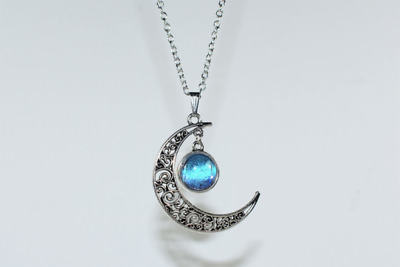 Blue Morpho Crescent Moon Pendant Necklace Butterfly Wing Silver Jewelry