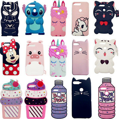 For Huawei Y7 6 5 2018 P Smart 2019 Cute 3D Cartoon Silicone Phone Cases Covers