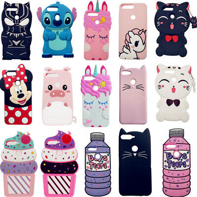 Cute 3D Cartoon Soft Silicone Phone Case Cover Shell For Huawei Y7 2018 P Smart